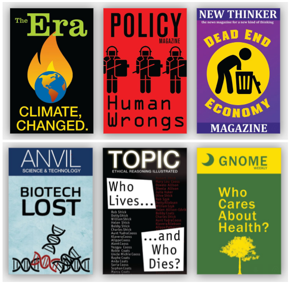 6 magazine covers of different futures, focused on economic, health, climate, and justice trends